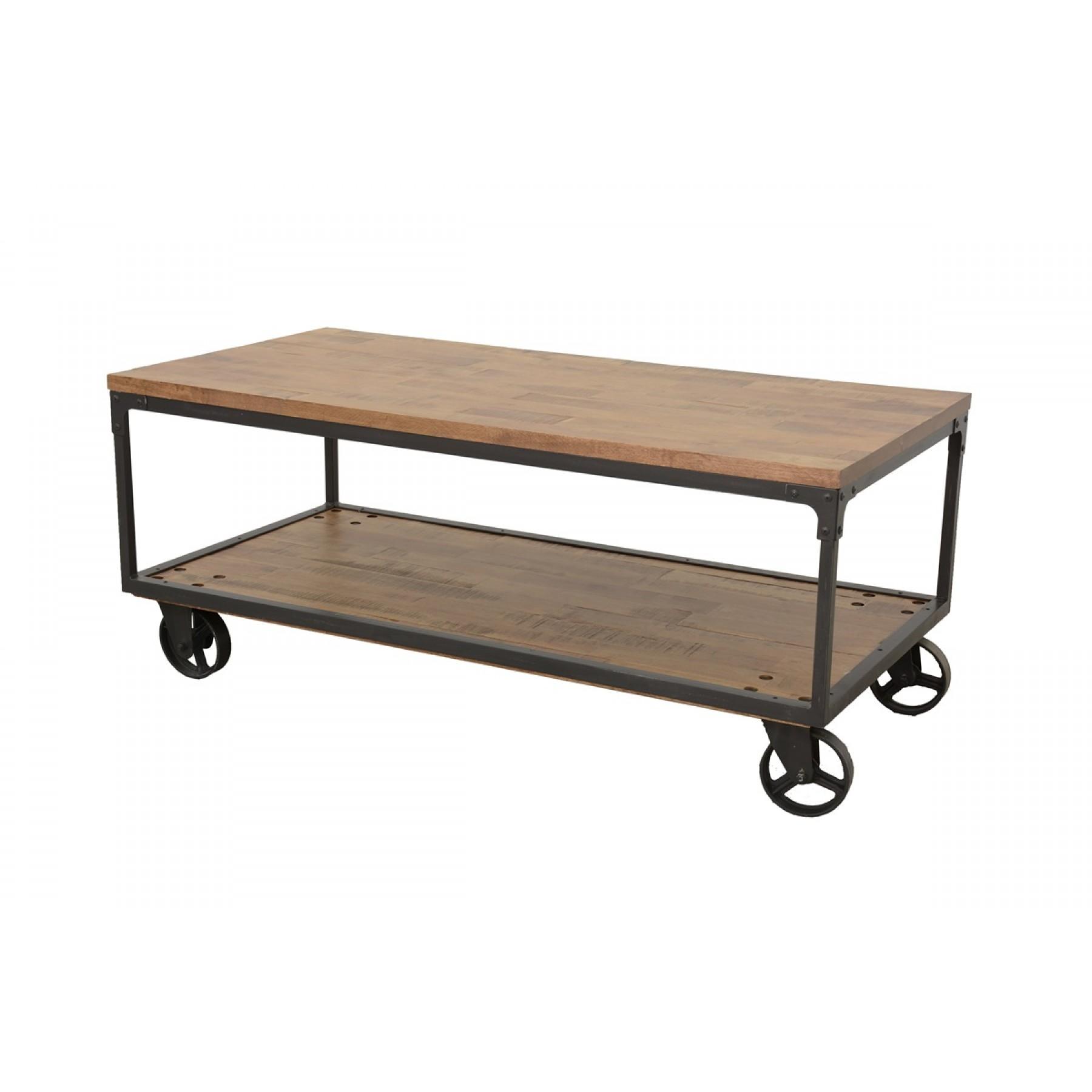 Fer Table Wolof Rectangle Finition Basse Sur Roue Naturelle Vieillie tdsQCxhr