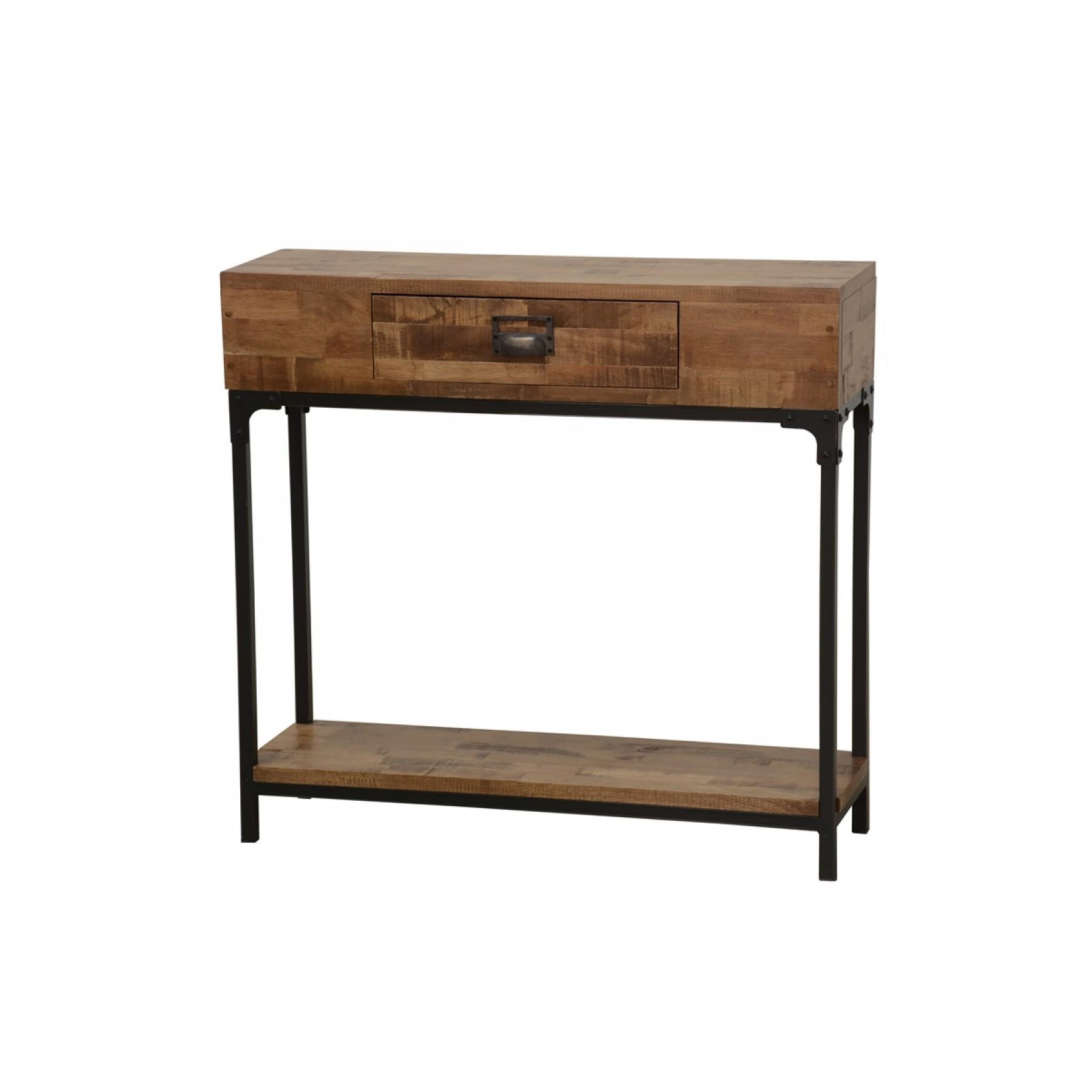 meuble console bois et fer finition naturelle vieillie par. Black Bedroom Furniture Sets. Home Design Ideas