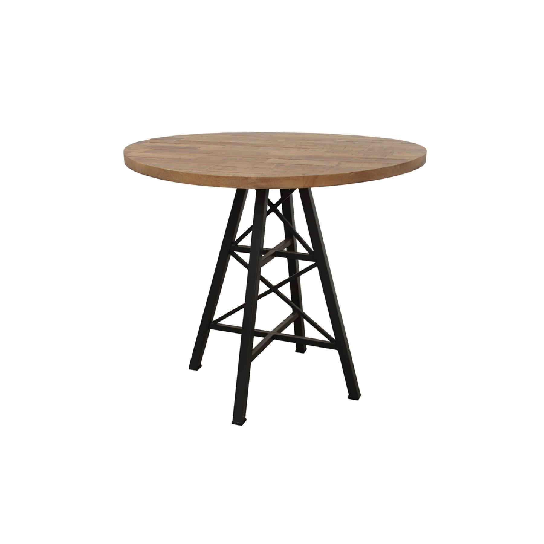 Table Bois Ronde De Bar Pied Metal Eiffel Finition Naturelle Par