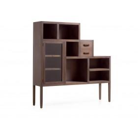 Bibliothèque Inca 2 tiroirs 1 porte 6 espaces de rangement 150*35*150