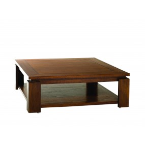 Table basse bois Mindi sous plateau 90*90cm