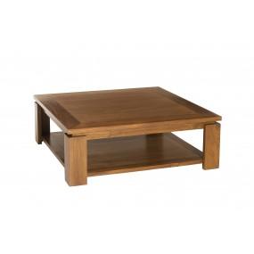 Table basse bois Teck sous plateau 90 x 90 cm