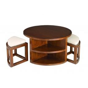Table basse ronde bois Mindi 2 tabourets avec coussins