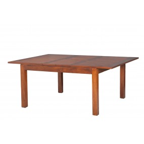 Table à manger carrée rallonge 140/50 x 140 cm bois Mindi