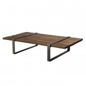 Table basse multi-planches bois massif cerclée métal