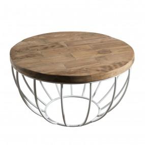 Table basse bois coque blanche 60 x 60 cm