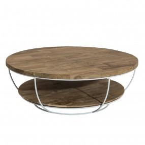 Table basse bois coque blanche double plateau 100 x 100 cm