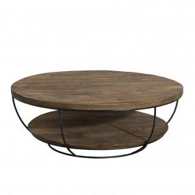 Table basse bois coque noire double plateau  100 x 100 cm