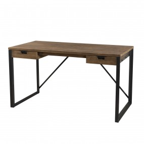 Bureau 2 tiroirs bois et métal