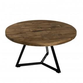 Table basse ronde bois pieds noirs 75 x 75 cm
