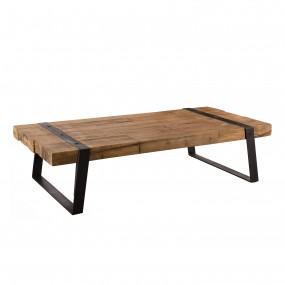 Table basse rectangulaire 140x70cm bois Teck recyclé et pieds inclinés métal