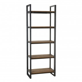 Etagère Recto-Verso 75x40x200cm 5 niveaux bois Teck recyclé et métal