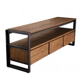 Meuble TV 3 tiroirs et 1 étagère bois Teck recyclé et métal