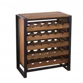 Meuble rangement vin 5 niveaux bois Teck recyclé et métal
