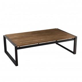 Table basse rectangulaire 120x70cm bois Teck recyclé pieds métal
