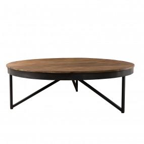 Table basse ronde 110x110cm bois Teck recyclé pieds métal