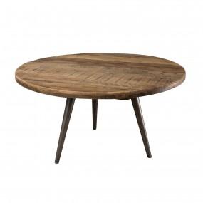 Table basse d'appoint ronde 55x55cm bois Teck recyclé et pieds métal