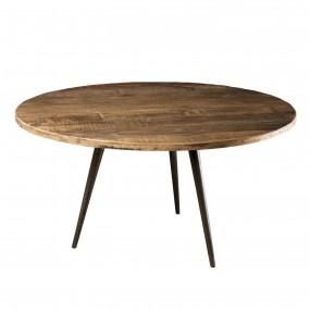 Table basse ronde 75x75cm bois Teck recyclé et métal