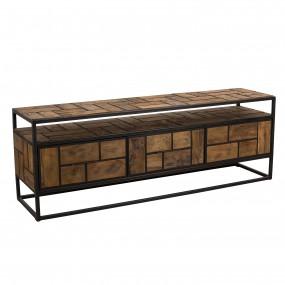 Meuble TV 3 tiroirs 1 étagère bois Teck recyclé et métal