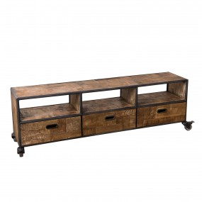 Meuble TV à roulettes 3 tiroirs 3 niches bois Teck recyclé et métal