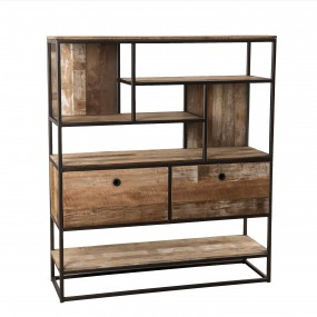 Etagère 2 tiroirs et 7 niches bois Teck recyclé Acacia Mahogany et métal