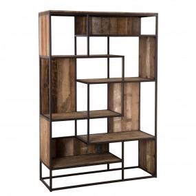 Bibliothèque 6 niveaux avec 6 open space bois Teck recyclé Acacia Mahogany et métal