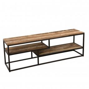 Meuble TV 3 niveaux avec tablettes bois Teck recyclé Acacia Mahogany et métal
