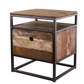 Table d'appoint avec tablette et 1 tiroir bois Teck recyclé Acacia Mahogany et métal