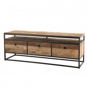 Meuble TV 3 tiroirs bois Teck recyclé Acacia Mahogany et métal