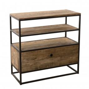 Etagère 1 tiroir bois Teck recyclé Acacia Mahogany et métal