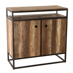 Buffet 2 portes et 1 étagère bois Teck recyclé Acacia Mahogany et métal