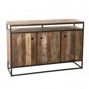 Buffet 3 portes et 1 étagère bois Teck recyclé Acacia Mahogany et métal