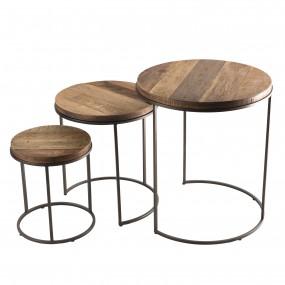 Set de 3 tables d'appoint rondes gigogne bois Teck recyclé Acacia Mahogany pieds métal