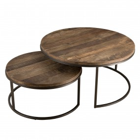Set de 2 tables basse gigogne bois Teck recyclé Acacia Mahogany et métal