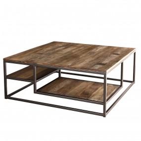 Table basse carrée avec tablettes bois Teck recyclé Acacia Mahogany et métal