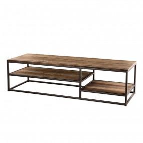 Table basse rectangulaire avec tablettes bois Teck recyclé Acacia Mahogany et métal