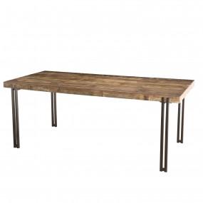 Table à manger 200x90cm bois Teck recyclé Acacia Mahogany pieds métal