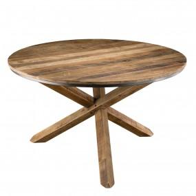 Table à manger ronde 130x130cm pieds croisés bois Teck recyclé Acacia Mahogany