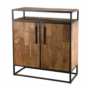 Buffet 2 portes et 1 étagère bois Teck recyclé et métal