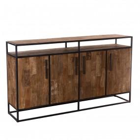 Buffet 4 portes 1 étagère bois Teck recyclé et métal