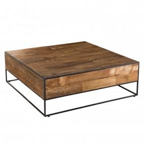 Table basse carrée 100x100cm bois Teck recyclé et métal