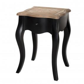 Chevet bois 1 tiroir noir et plateau pin vieilli