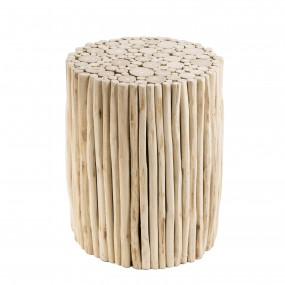 Table d'appoint ronde bois nature petites branches