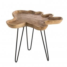 Table d'appoint bois Teck - plateau forme naturelle - pieds épingles scandi métal