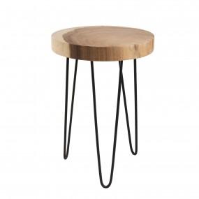 Table d'appoint ronde PM - bois nature Mungur - Pieds épingles scandi métal