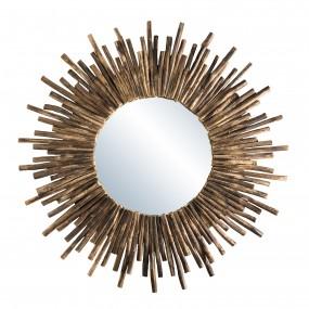 Miroir rond soleil bois nature branches