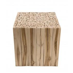 Bout de canapé carré bois nature branches Teck