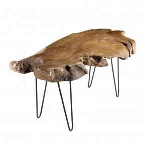 Table basse forme naturelle bois Teck - pieds épingles scandi métal