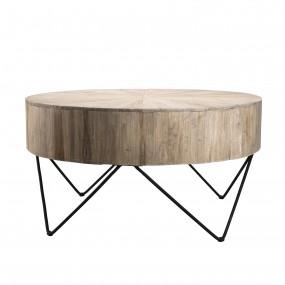 Table basse nature ronde bois - plateau branches Teck - pieds épingles scandi métal