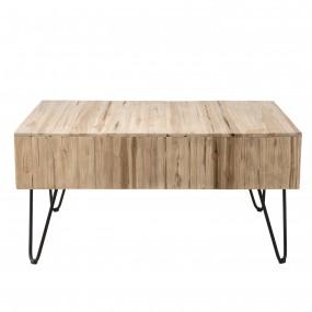 Table basse bois nature 2 tiroirs branches Teck - pieds épingles scandi métal